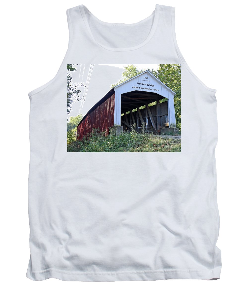 Bridge Tank Top featuring the photograph Nevins Covered Bridge Indiana by Steve Gass