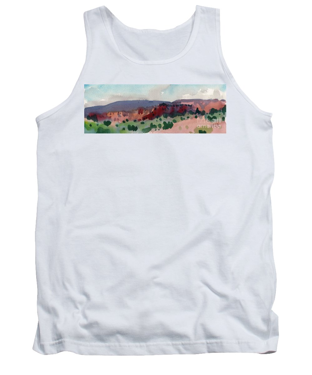 Mesa Tank Top featuring the painting New Mexico Panorama by Donald Maier