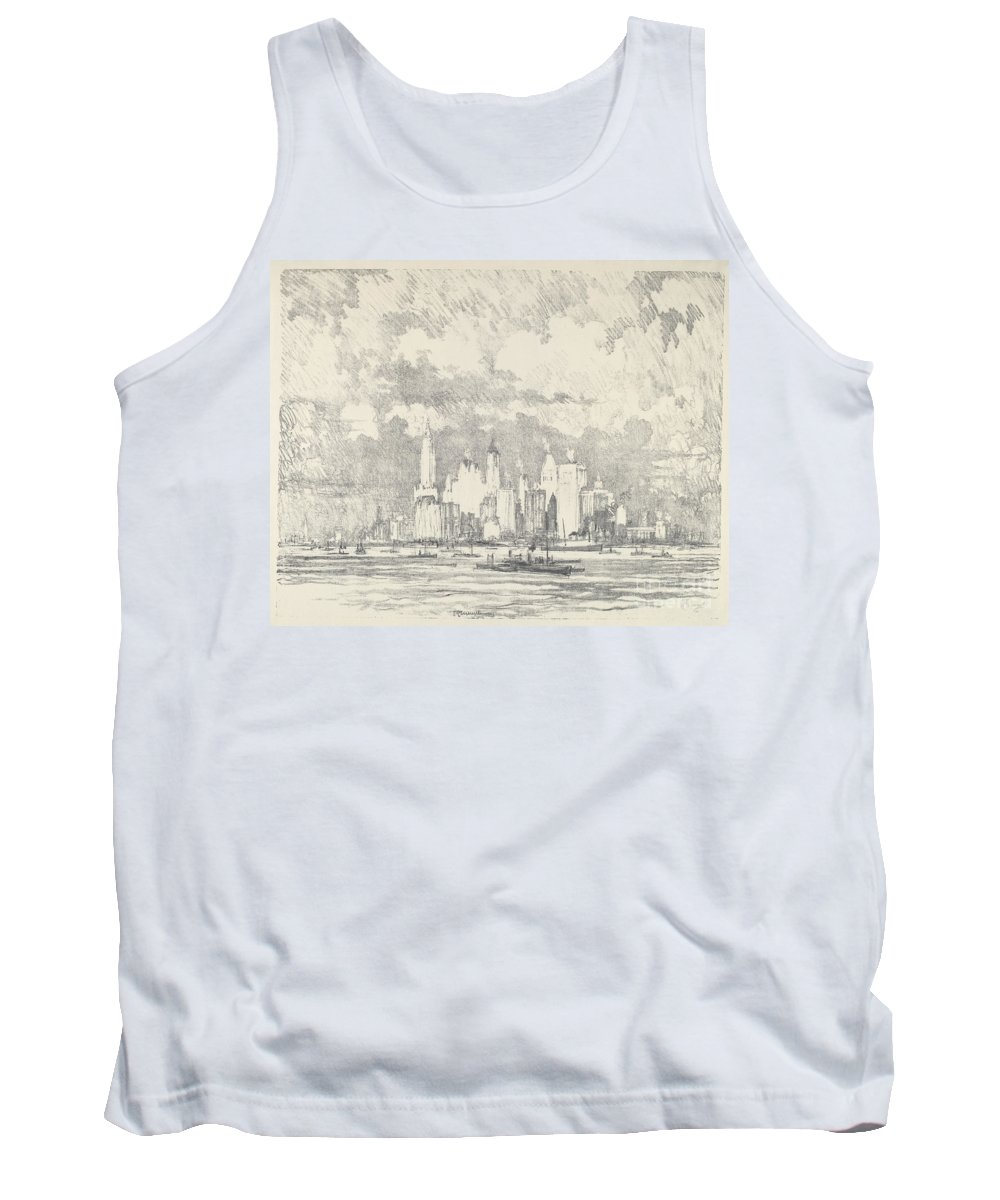 Tank Top featuring the drawing New York From Ellis Island by Joseph Pennell