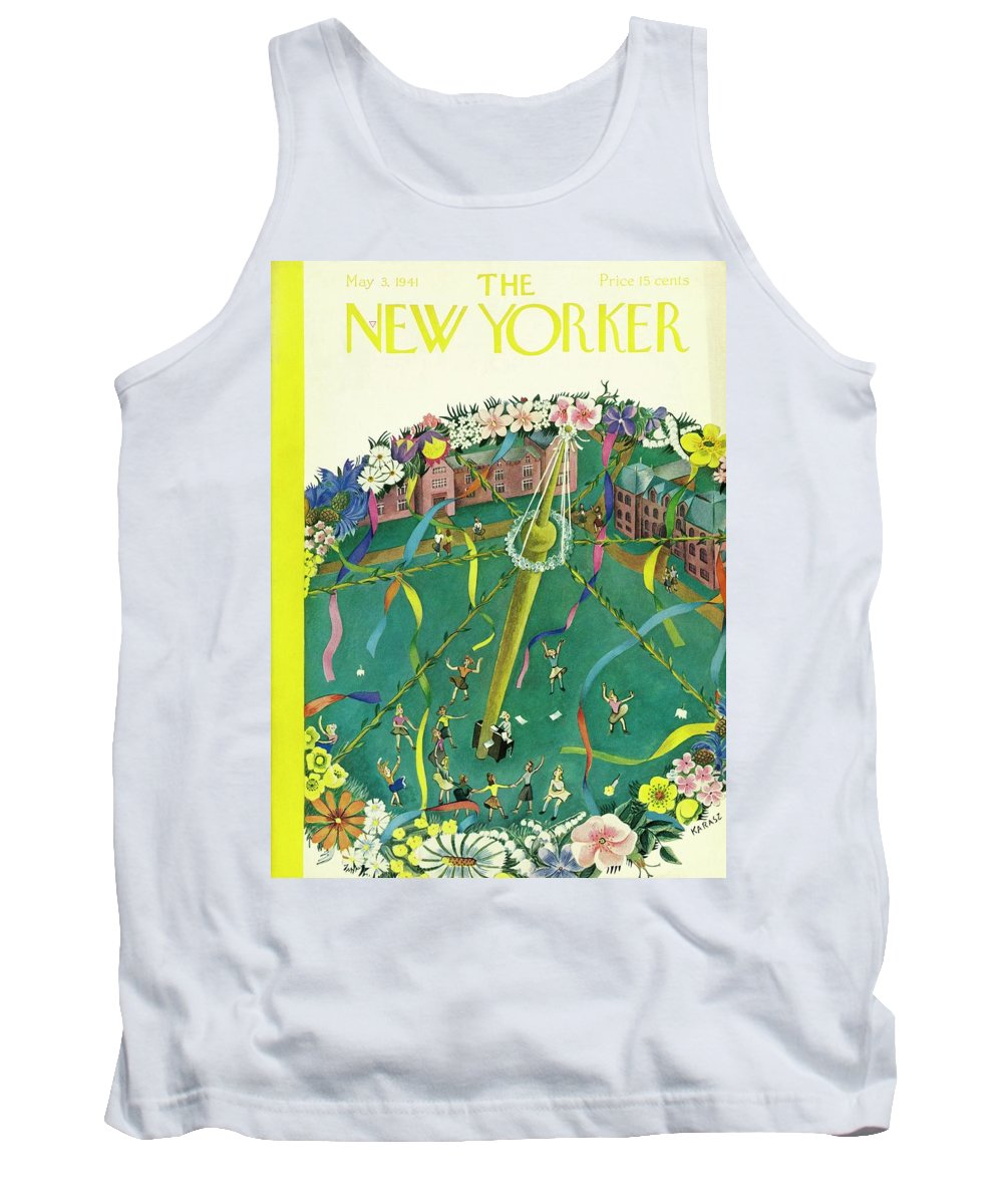 Spring Tank Top featuring the painting New Yorker May 3 1941 by Ilonka Karasz
