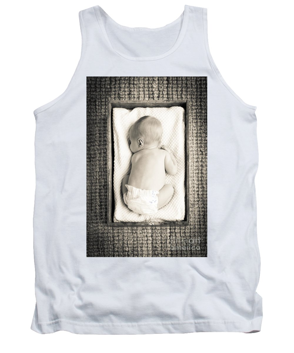 Baby Tank Top featuring the photograph Newborn Baby In Crate Filtered by Tim Hester