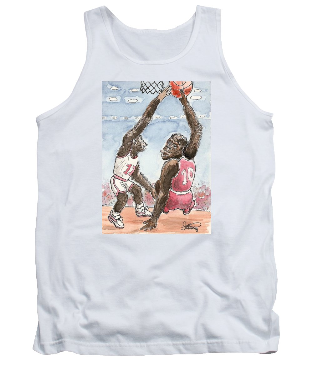 Basketbal Tank Top featuring the painting No No No by George I Perez