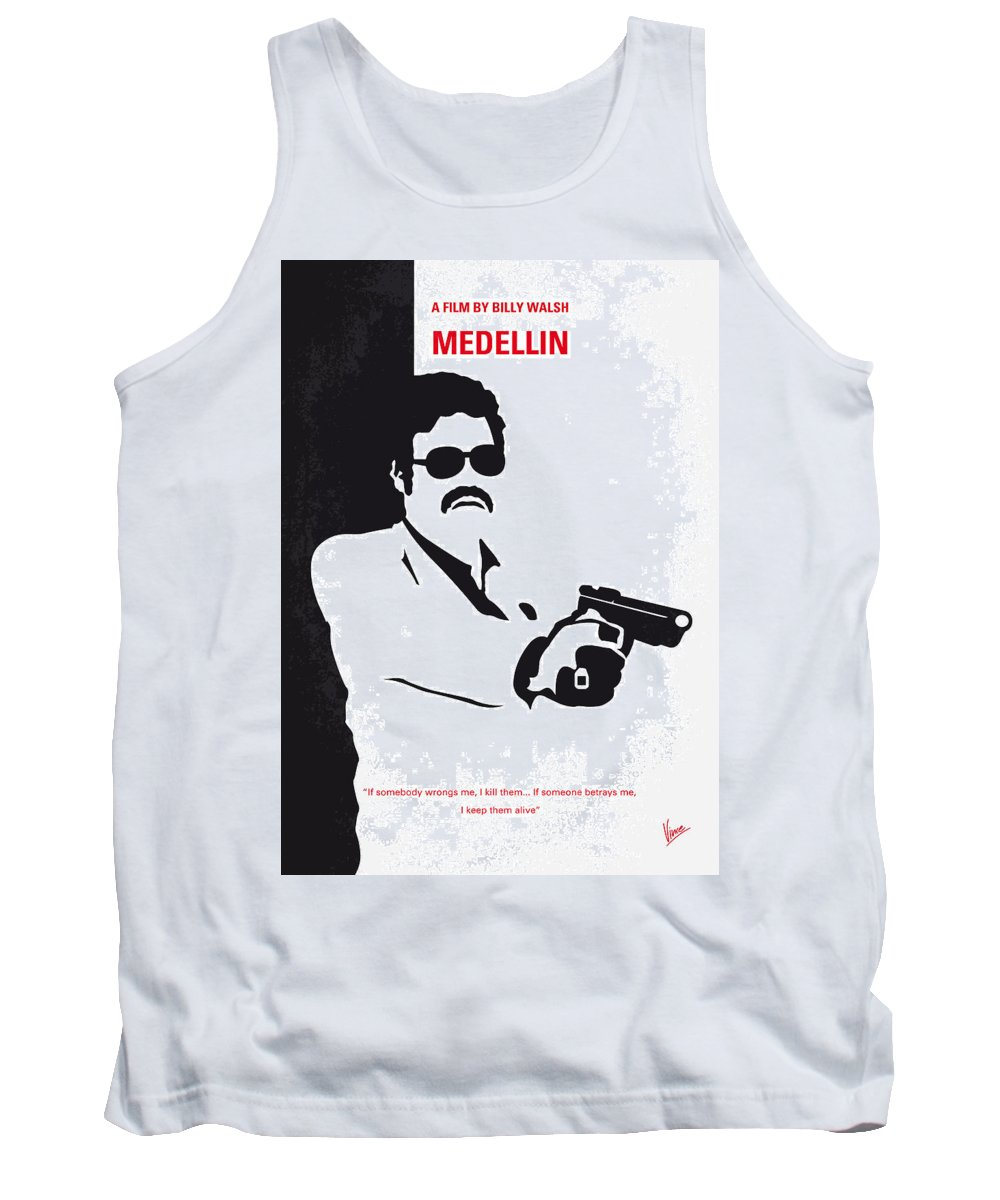 Medellin Tank Top featuring the digital art No526 My Medellin Minimal Movie Poster by Chungkong Art
