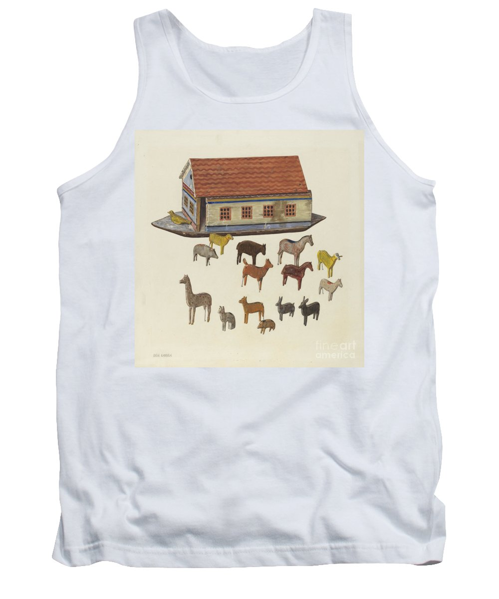 Tank Top featuring the drawing Noah's Ark And Animals by Ben Lassen