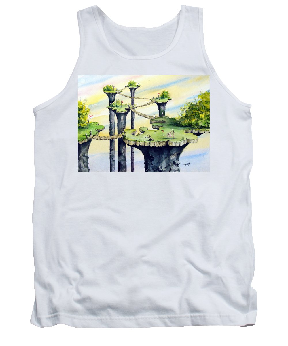 Golf Tank Top featuring the painting Nod Country Club by Sam Sidders
