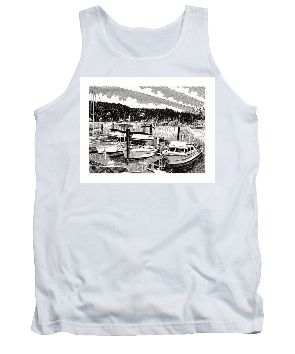 Yacht Portraits Tank Top featuring the drawing Gig Harbor Yacht Moorage by Jack Pumphrey