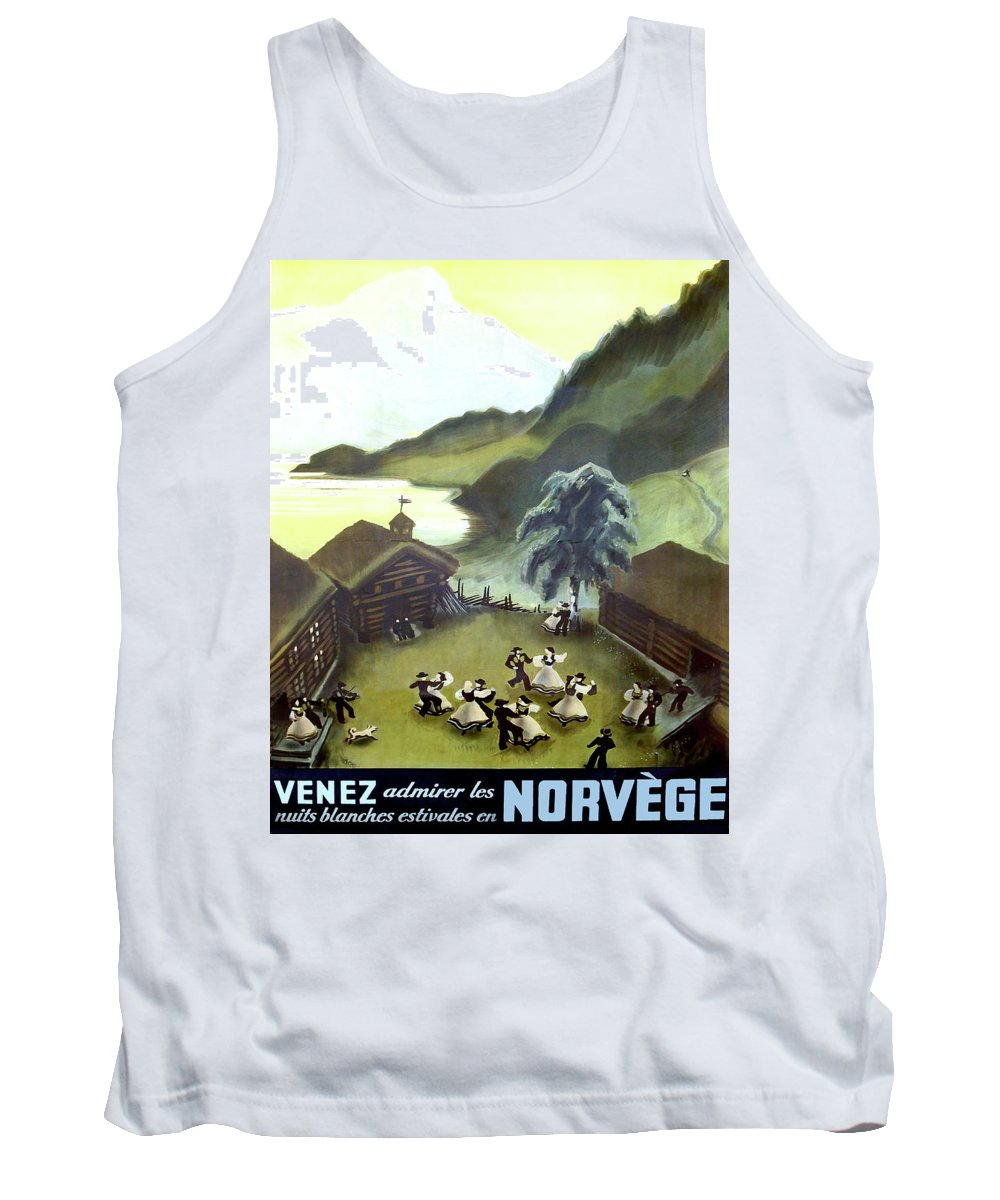 Norway Tank Top featuring the painting Norway, Small Village, Dancing Couples by Long Shot