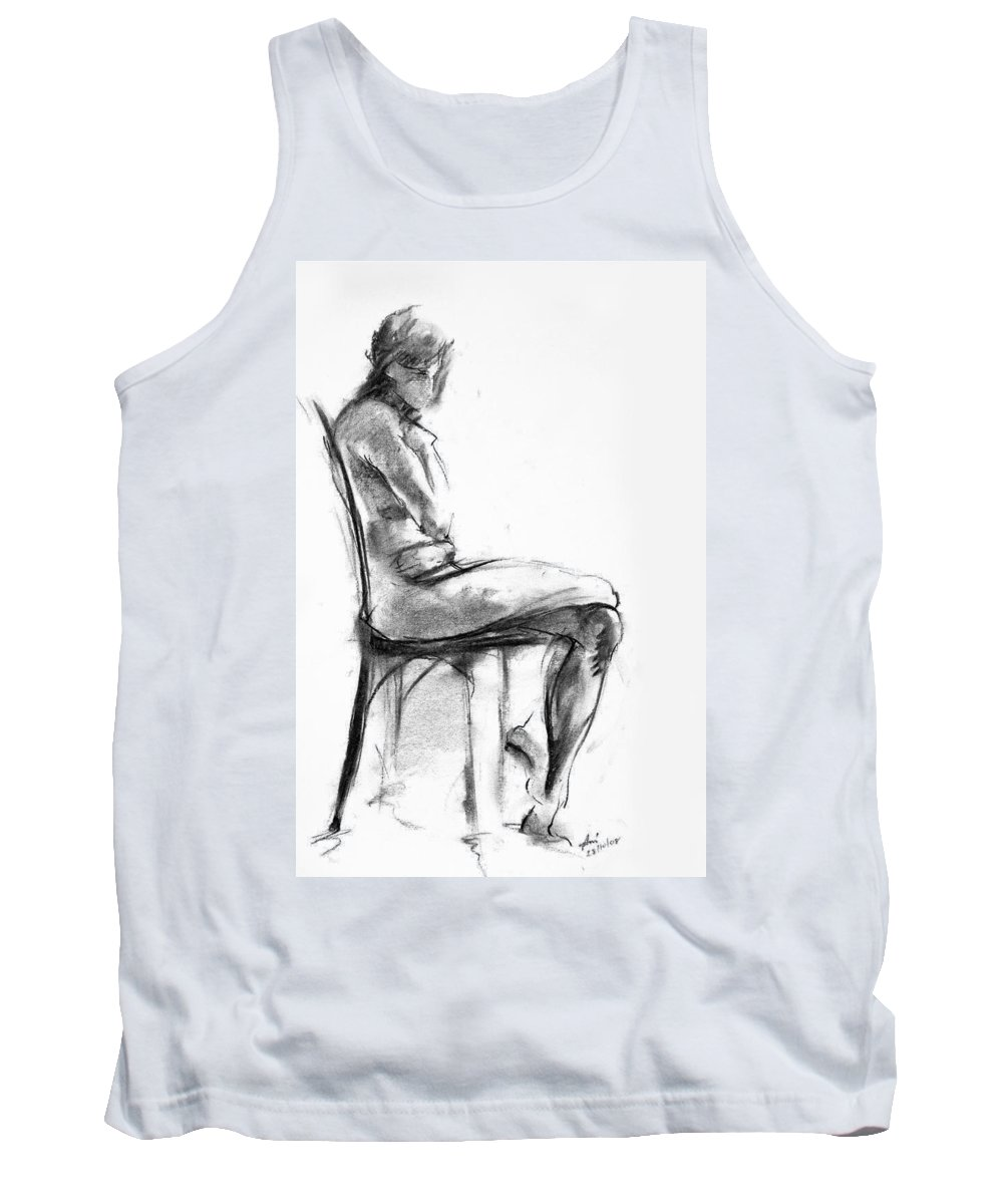 Nude Tank Top featuring the drawing Nude 1 by Ani Gallery
