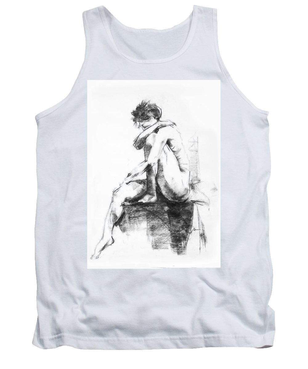 Nude Tank Top featuring the drawing Nude 11 by Ani Gallery