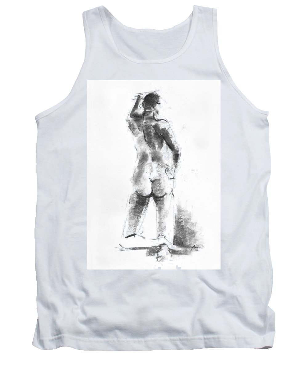 Nude Tank Top featuring the drawing Nude 44 by Ani Gallery