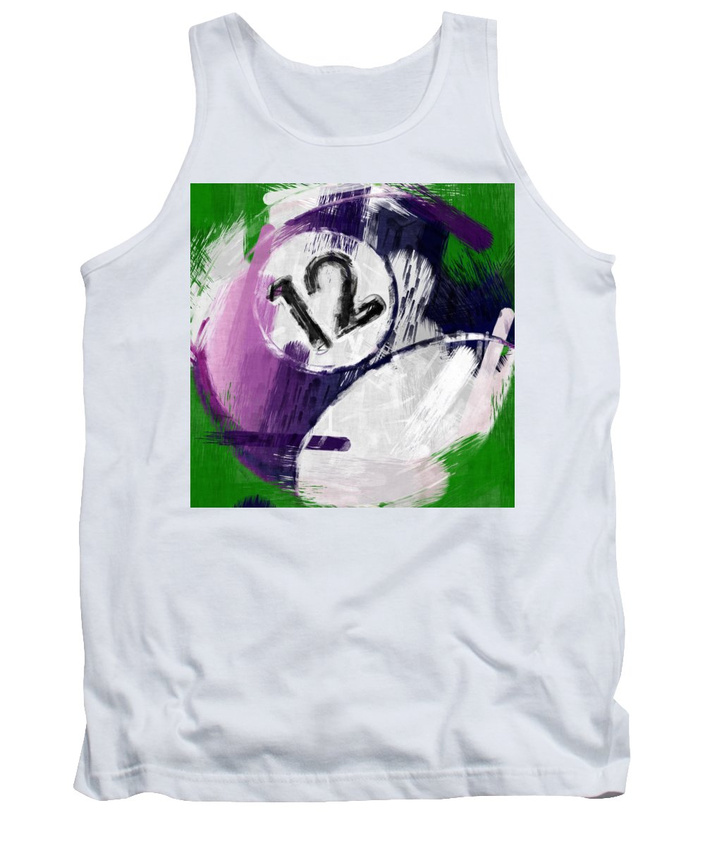 12 Tank Top featuring the photograph Number Twelve Billiards Ball Abstract by David G Paul