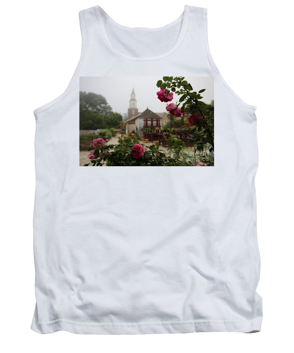 Colonial Williamsburg Tank Top featuring the photograph Nursery Garden Roses by Rachel Morrison