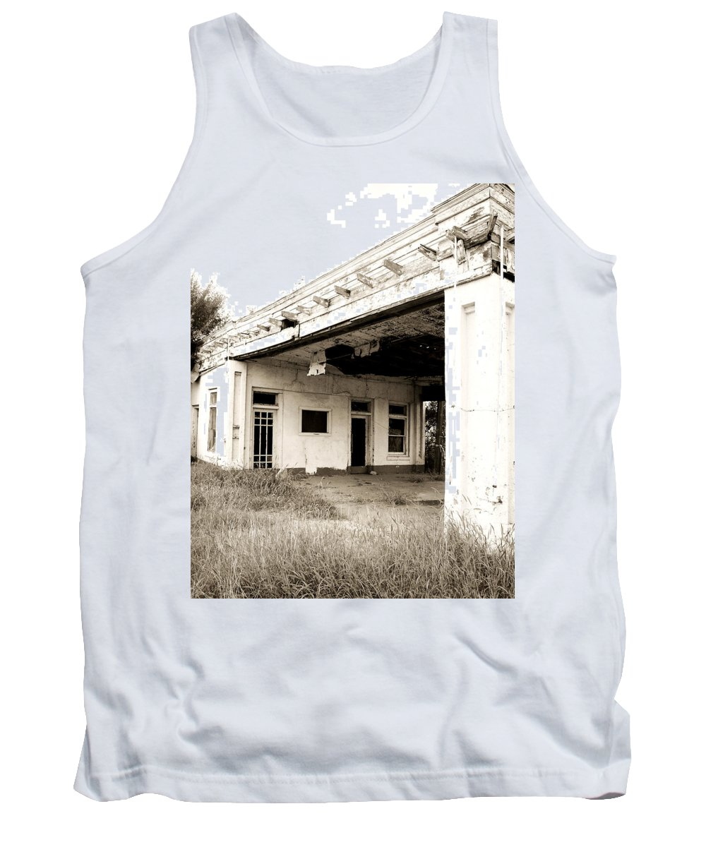 Americana Tank Top featuring the photograph Old Art Deco Filling Station by Marilyn Hunt