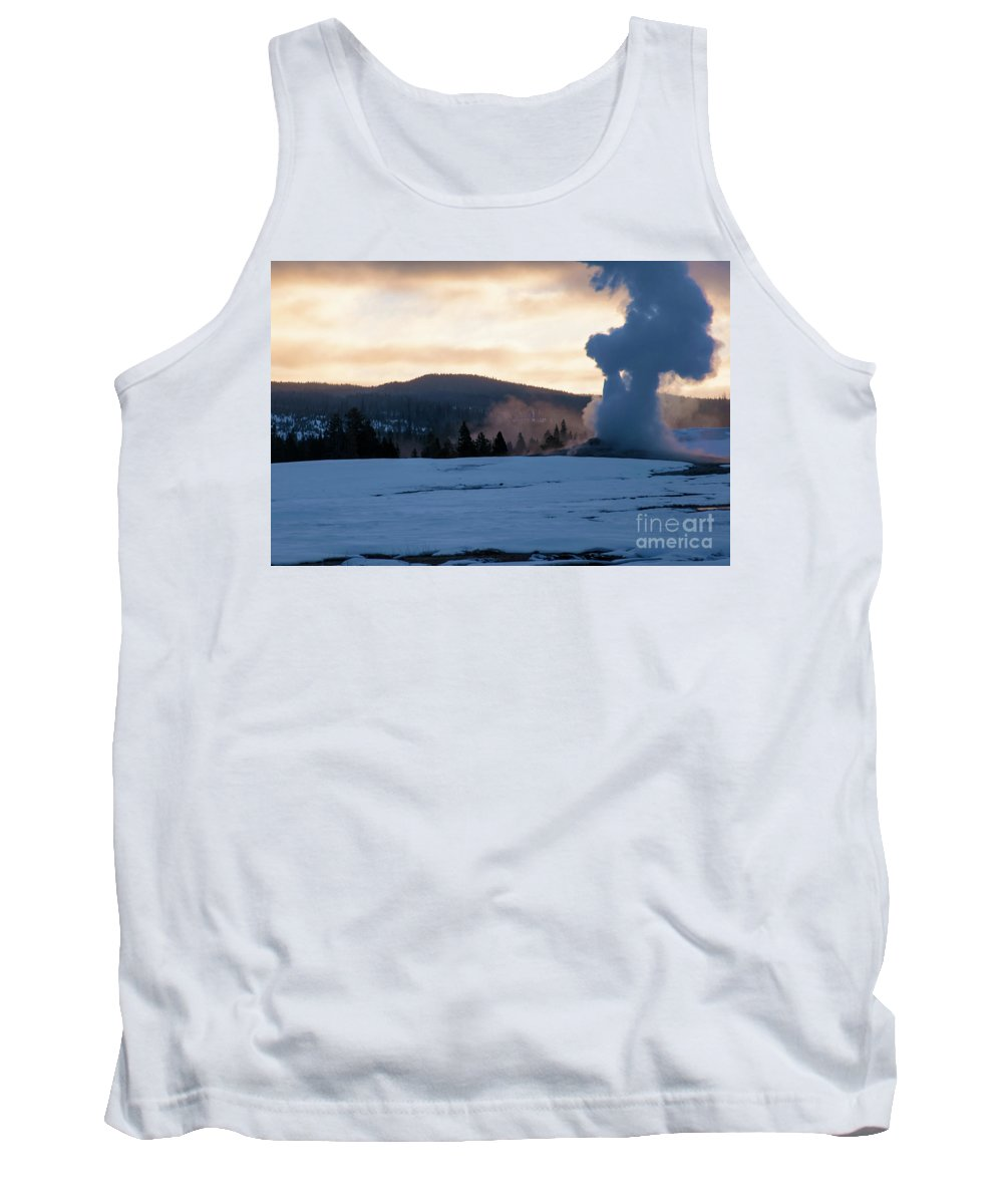 Yellowstone National Park Tank Top featuring the photograph Old Faithful At Daybreak by Bob Phillips