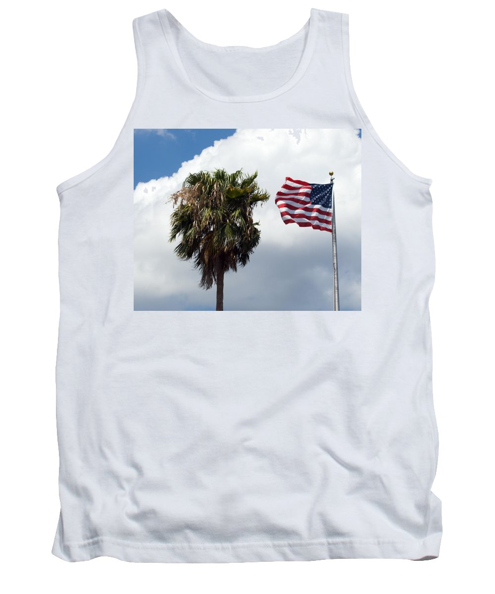 Florida; Titusville; Space; Coast; Astronauts; Astronaut; Cape; Canaveral; Mercury; Project; Freedom Tank Top featuring the photograph Old Glory Monument At Titusville Florida by Allan Hughes