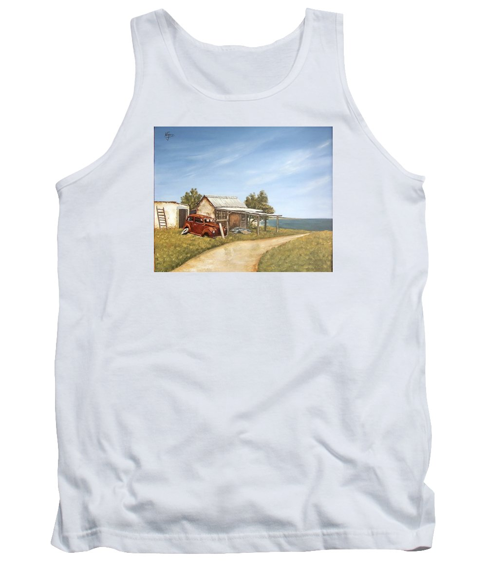 Old House Sea Seascape Landscape Tank Top featuring the painting Old House By The Sea by Natalia Tejera