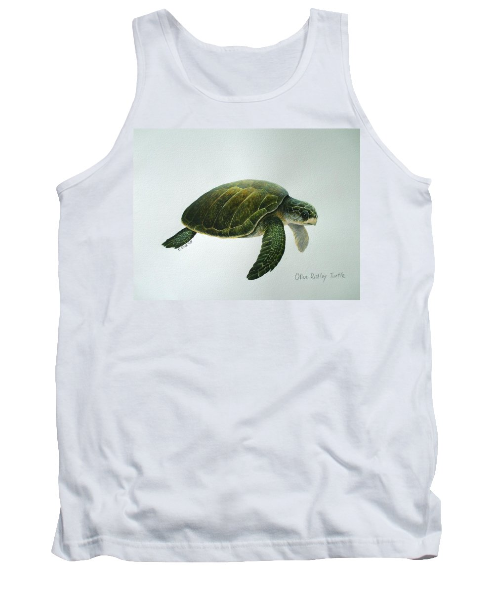 Olive Ridley Turtle Tank Top featuring the painting Olive Ridley Turtle by Christopher Cox