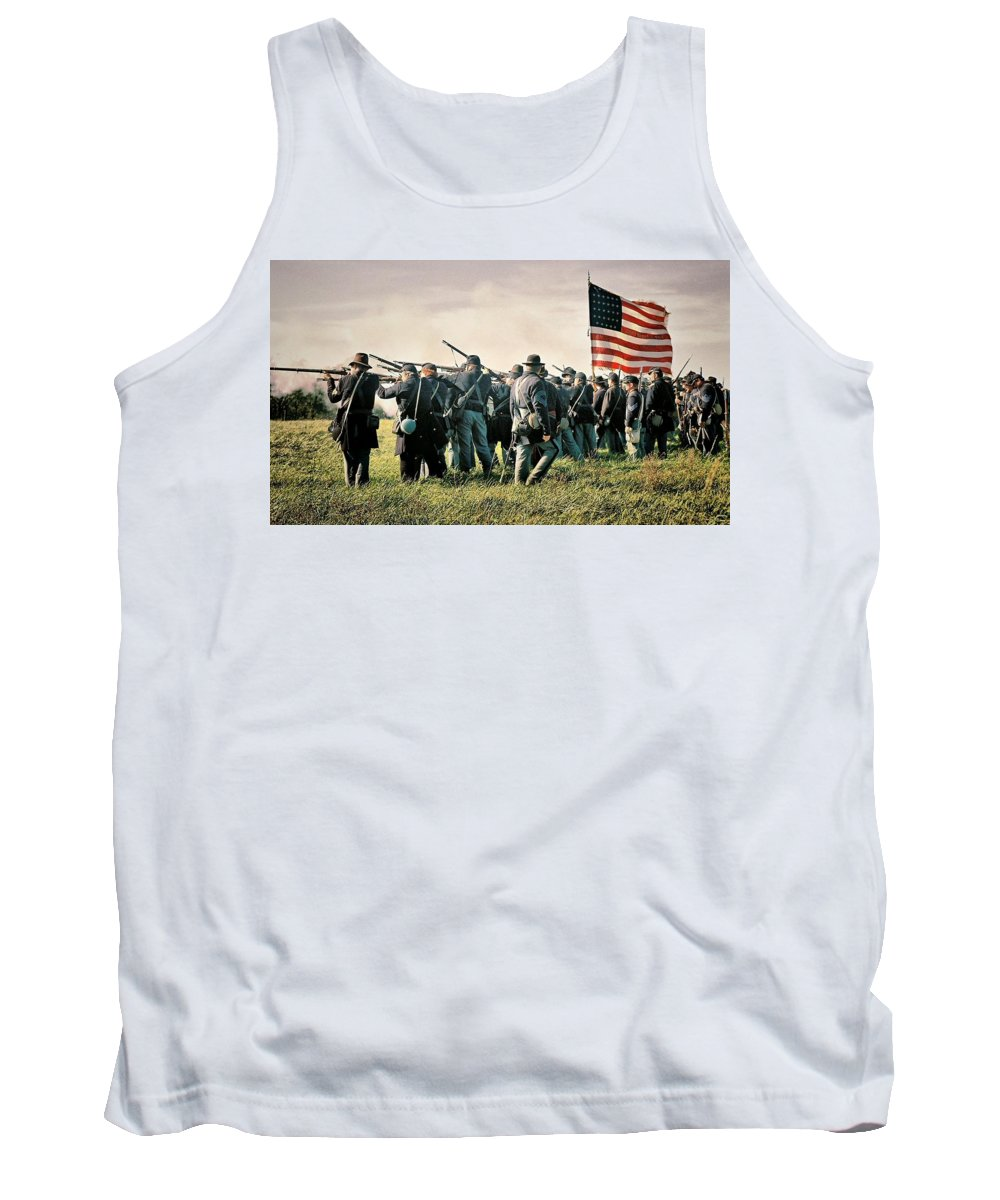 Civil War Tank Top featuring the photograph On The Field Of Battle by Lyle Hatch