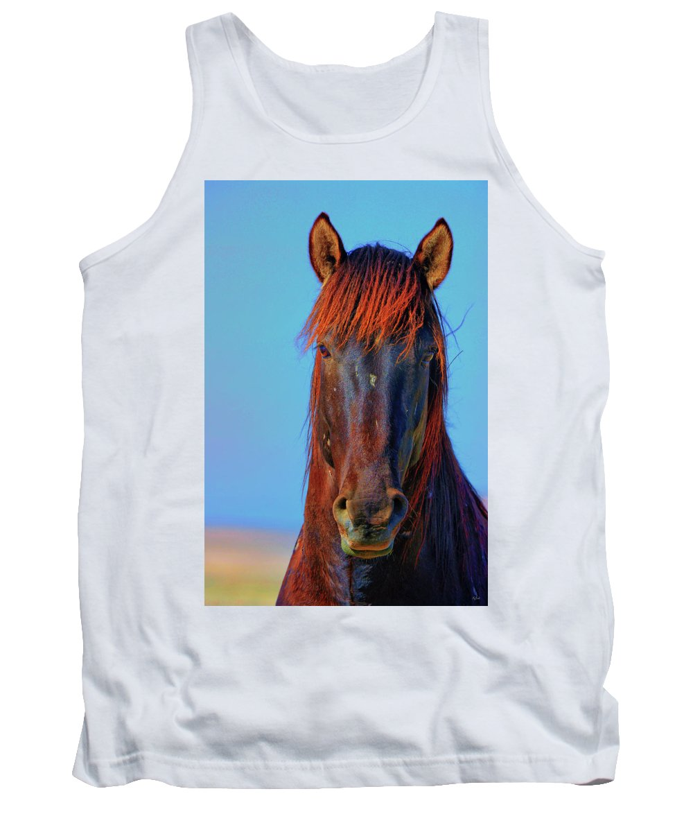 Horse Tank Top featuring the photograph Onaqui Wild Stallion Portrait by Greg Norrell