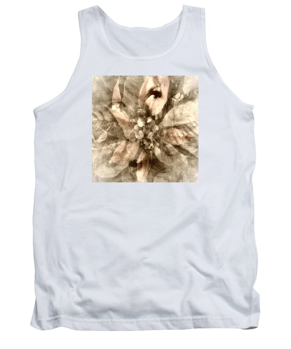 Digital Art Tank Top featuring the digital art Once Upon Grandmom's Poinsettia by Melissa D Johnston