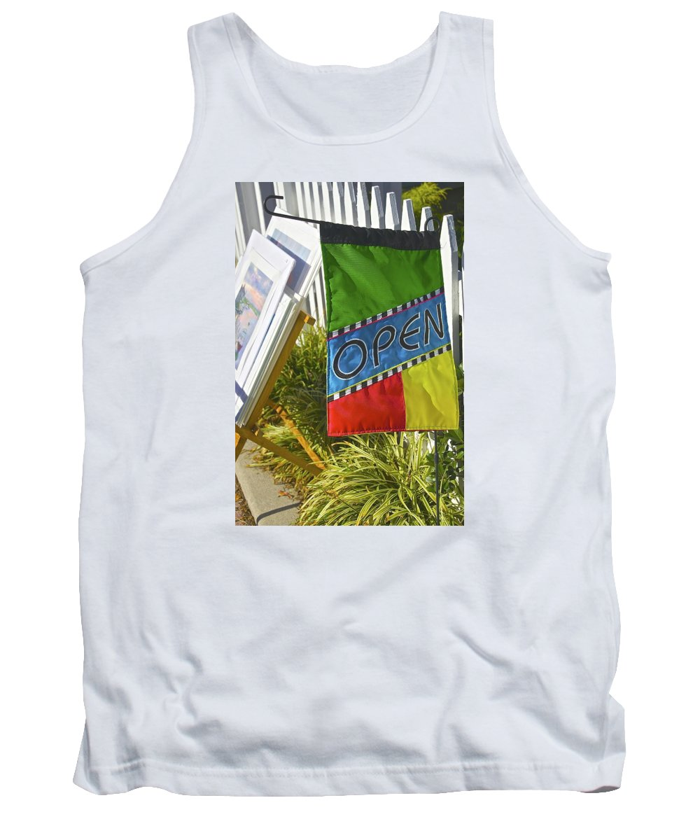 Open Sign Tank Top featuring the photograph Open In Lewis Delaware by Mark Holden
