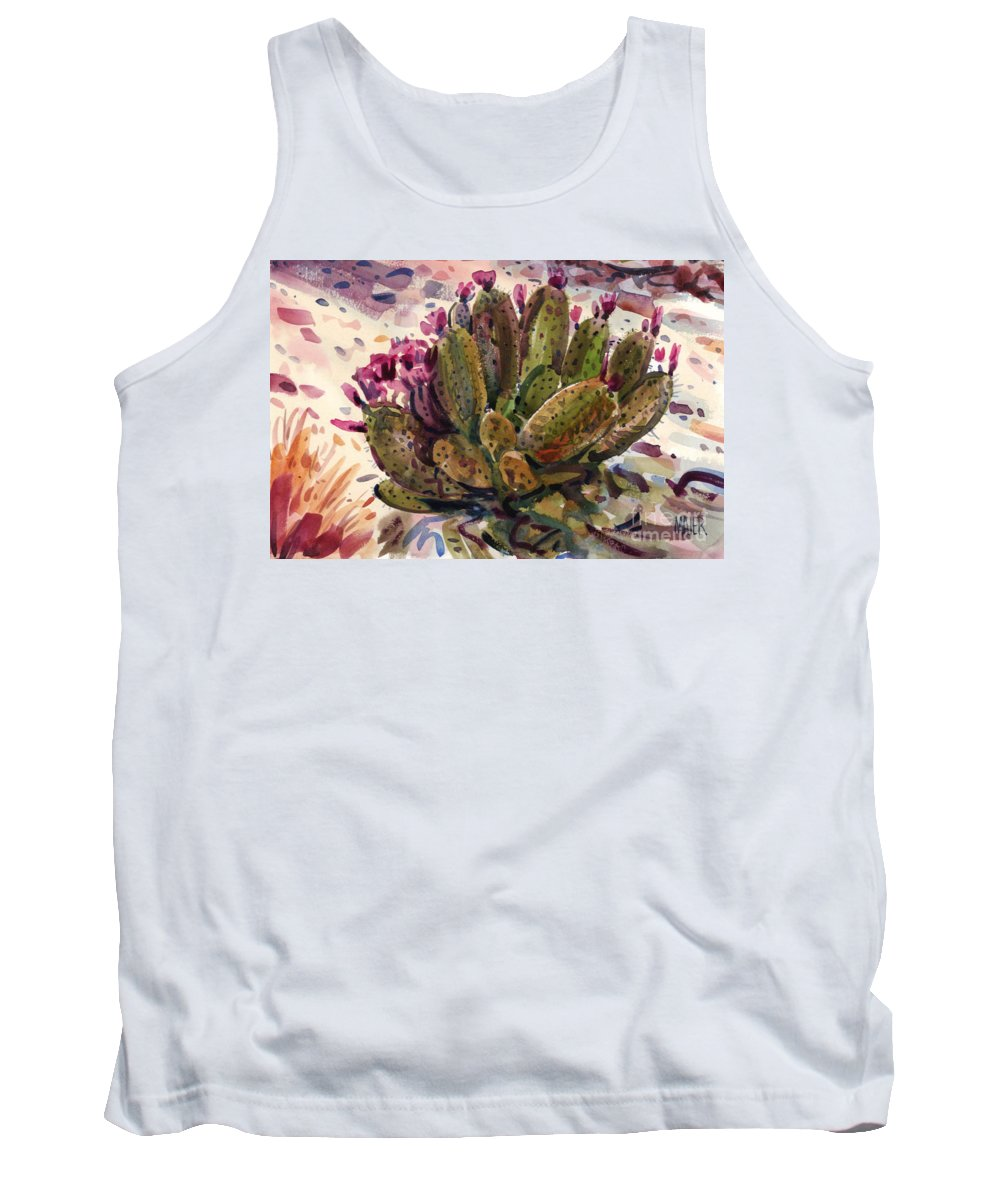 Opuntia Cactus Tank Top featuring the painting Opuntia Cactus by Donald Maier