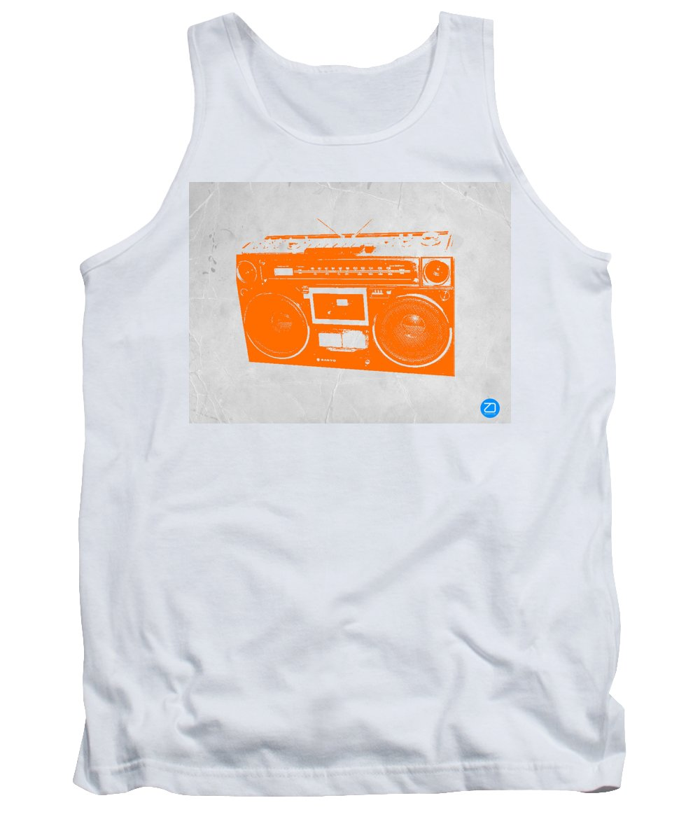 Tank Top featuring the painting Orange Boombox by Naxart Studio