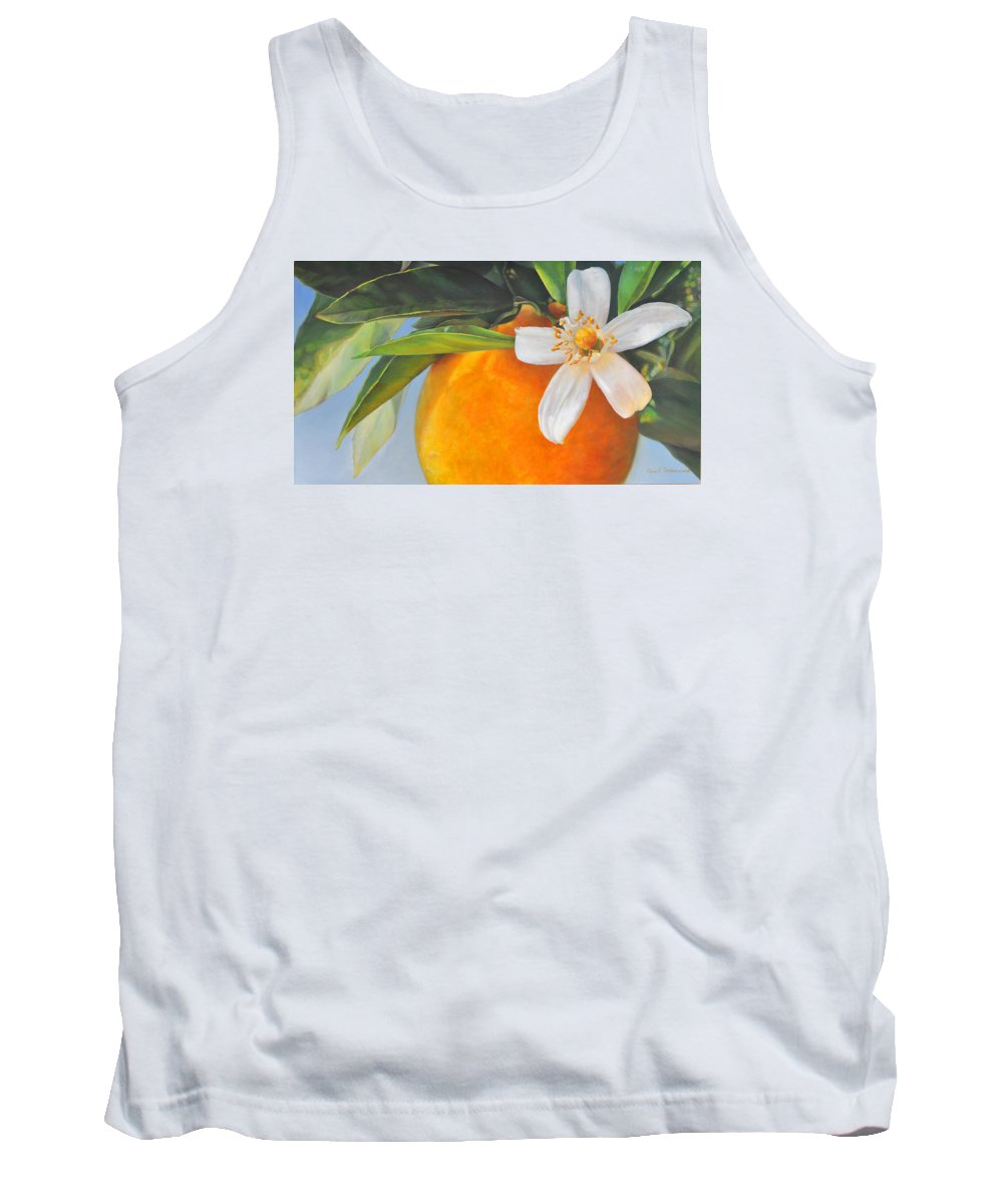 Floral Painting Tank Top featuring the painting Orange En Fleurs by Muriel Dolemieux