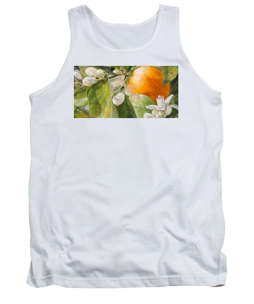 Floral Painting Tank Top featuring the painting Orange Fleurie by Dolemieux