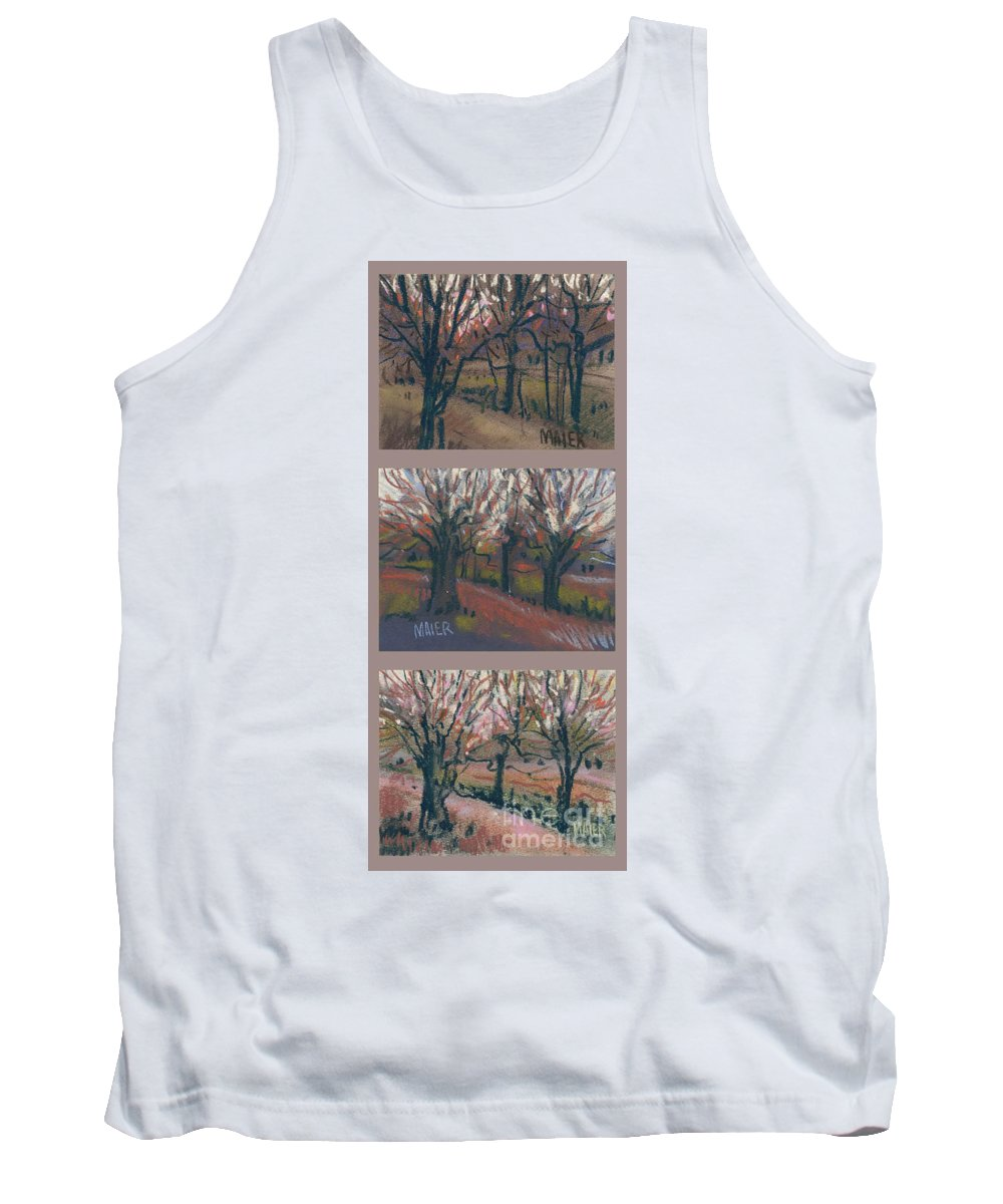 Pastel Tank Top featuring the drawing Orchard Sunset by Donald Maier