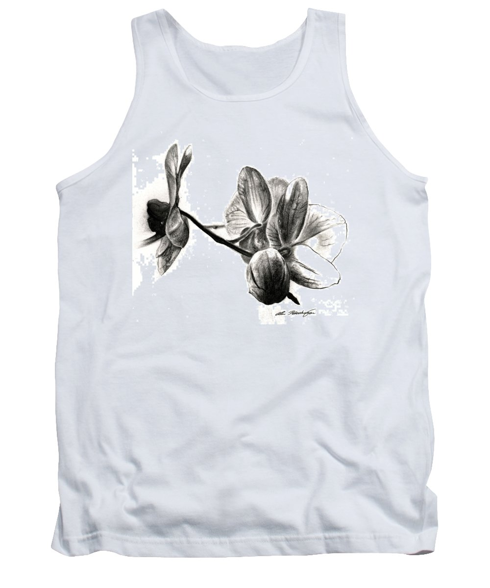 Lin Petershagen Tank Top featuring the drawing Orchids In Black by Lin Petershagen