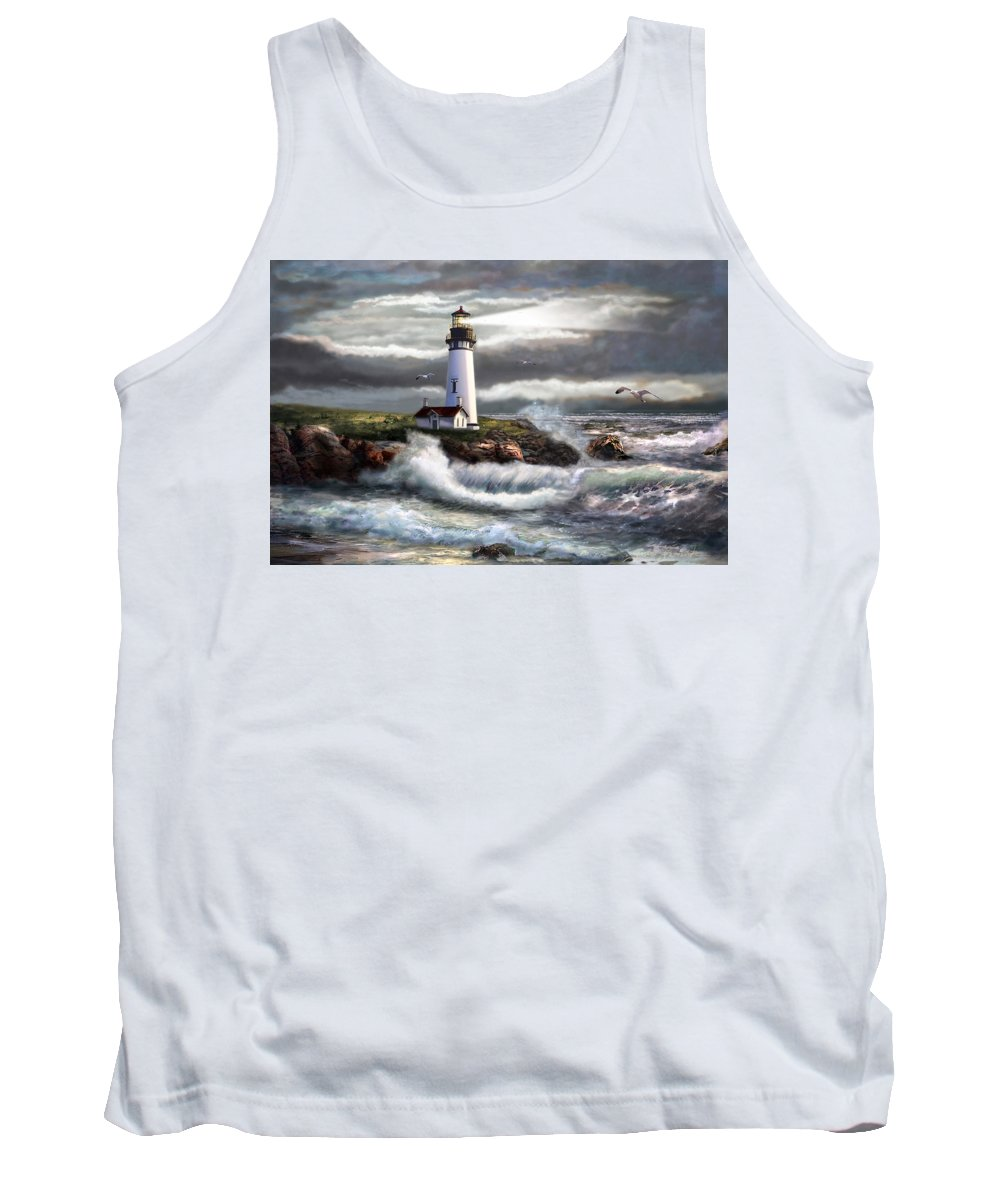 Seascape Art Tank Top featuring the painting Oregon Lighthouse Beam Of Hope by Regina Femrite