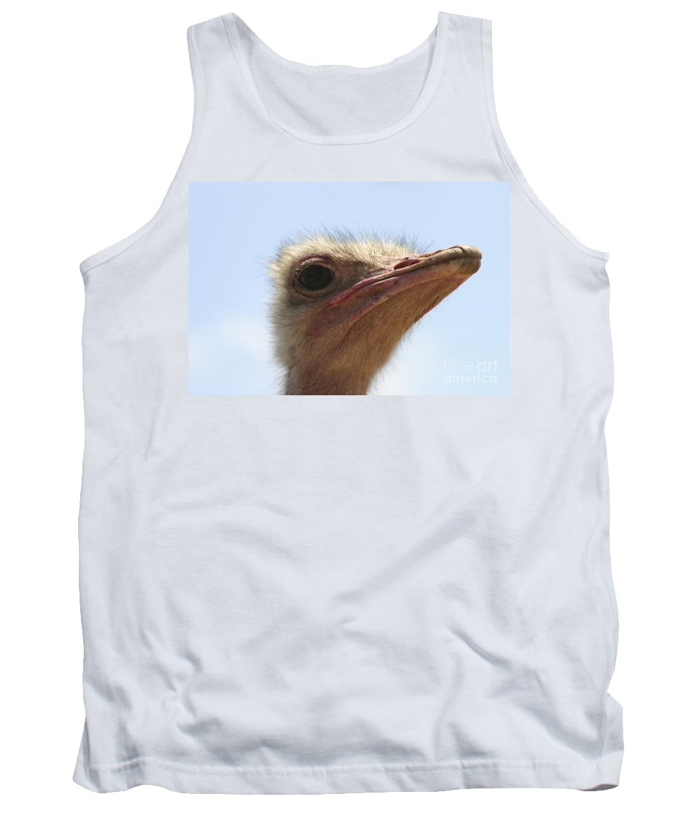 Ostrich Tank Top featuring the photograph Ostrich Head Close Up by Danny Yanai