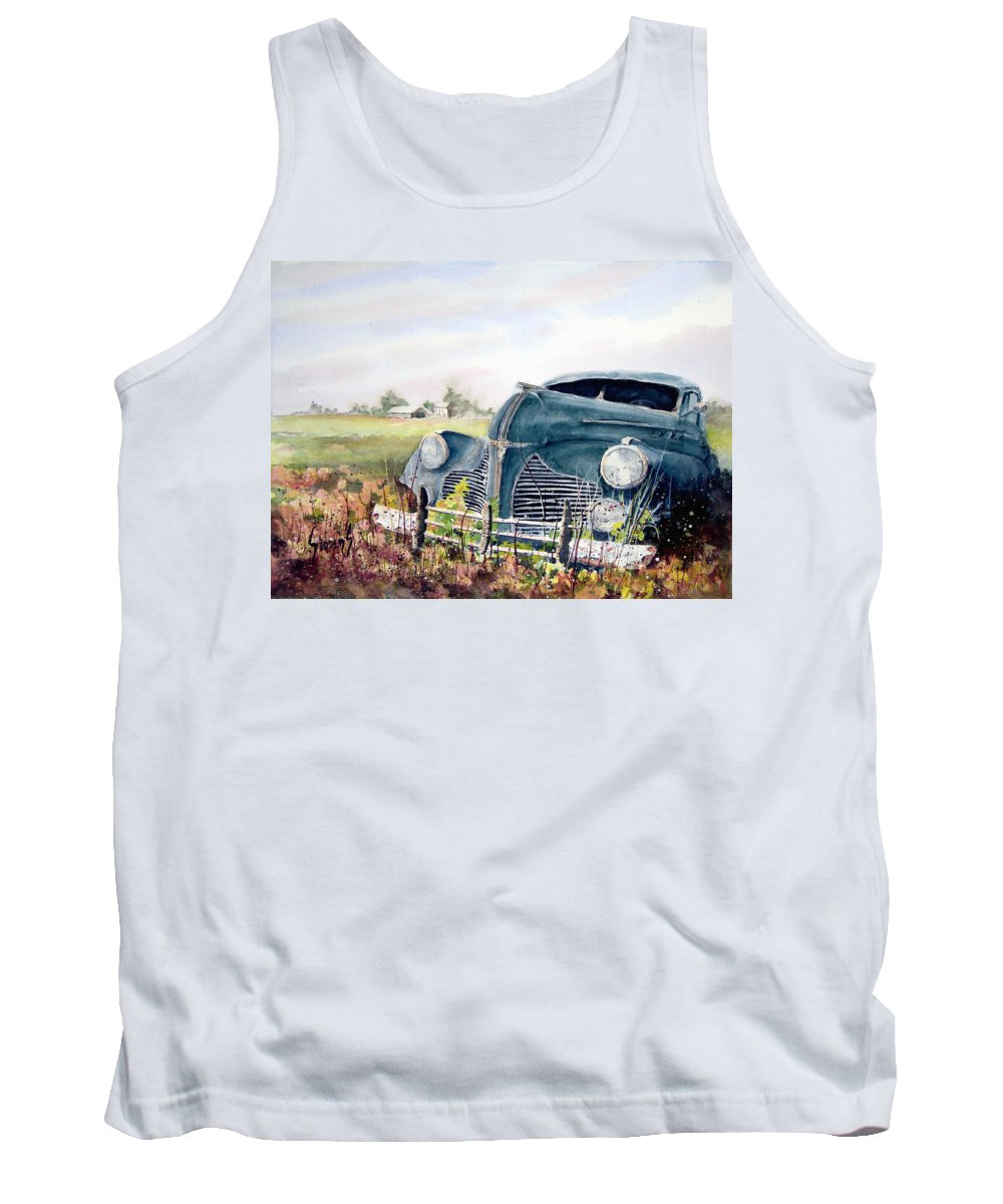 Classic Car Tank Top featuring the painting Out To Pasture by Sam Sidders