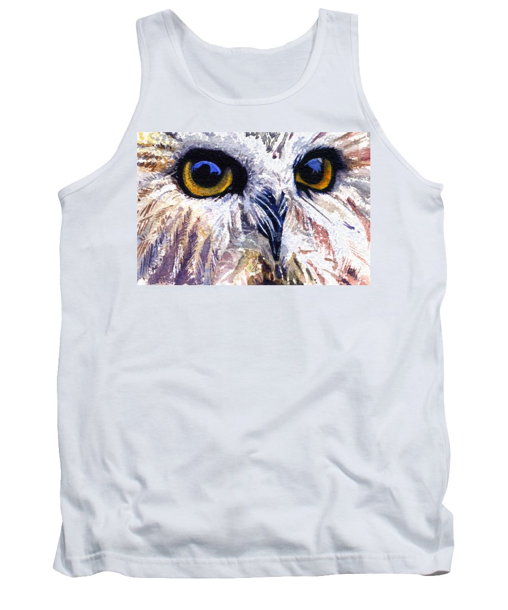 Eye Tank Top featuring the painting Owl by John D Benson
