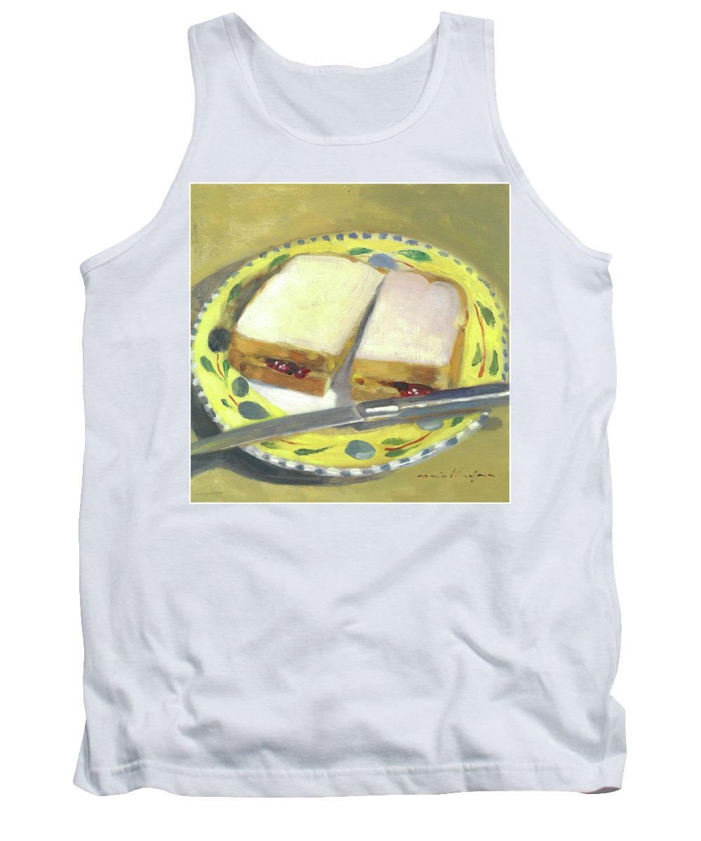 Food Tank Top featuring the painting P B And J by Marie Garafano