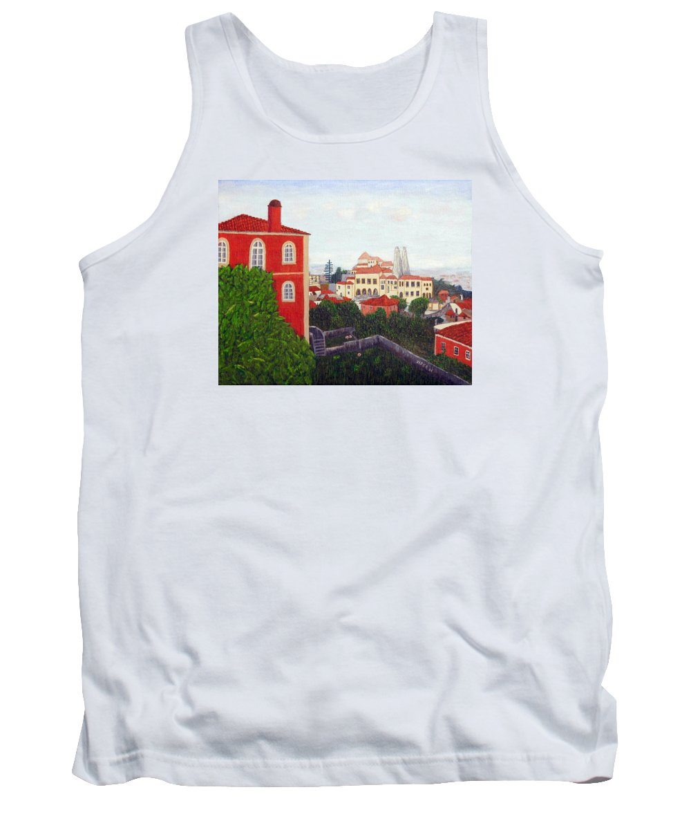 Palace Tank Top featuring the painting Palace - Sintra by Vitor Fernandes VIFER