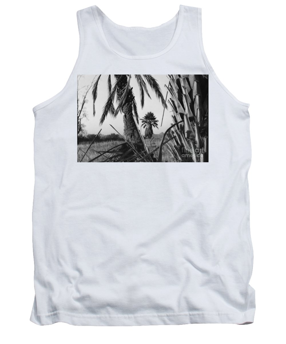 Black And White Photograpy Tank Top featuring the photograph Palm In View Bw Horizontal by Heather Kirk