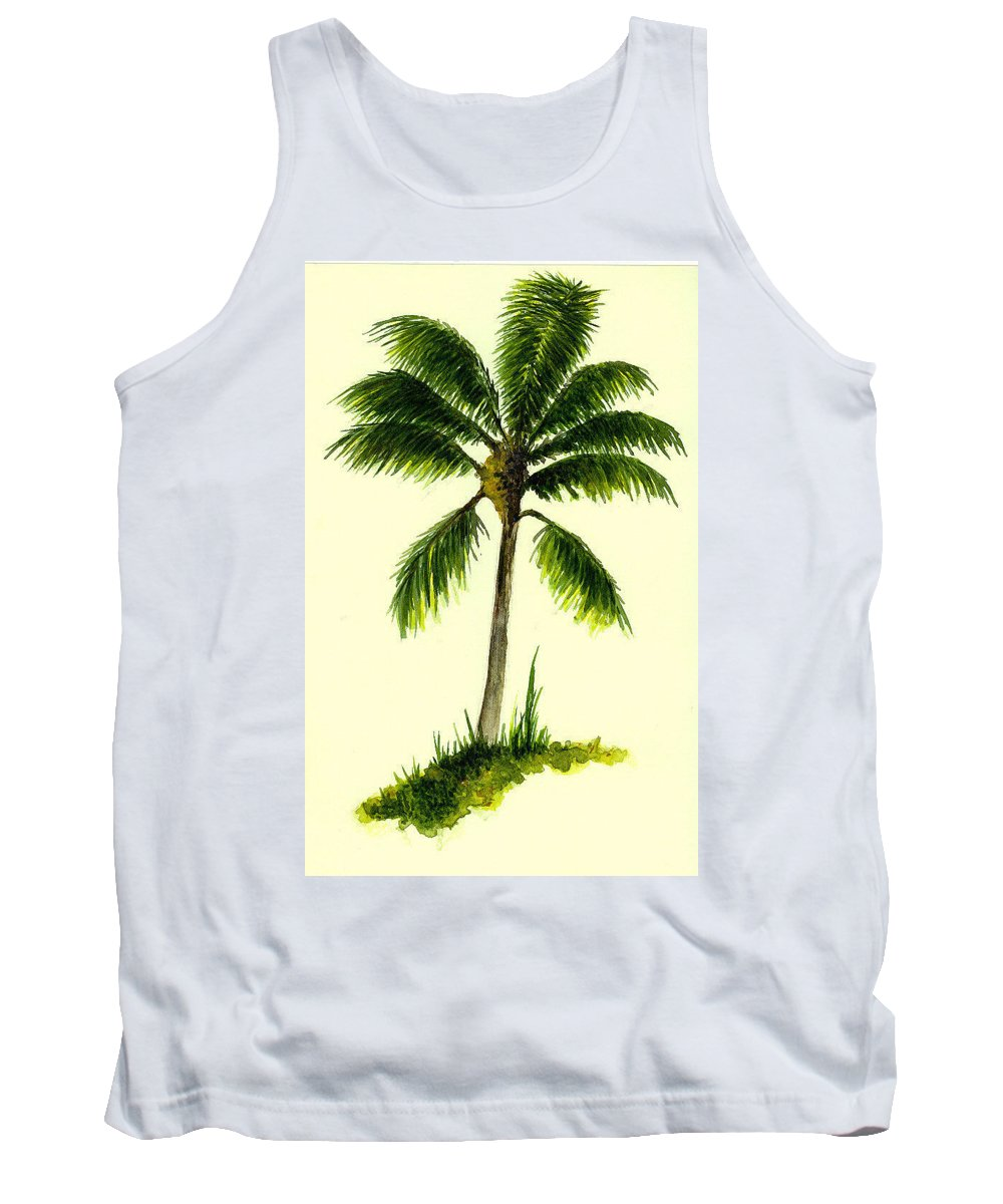 Tree Tank Top featuring the painting Palm Tree Number 1 by Michael Vigliotti