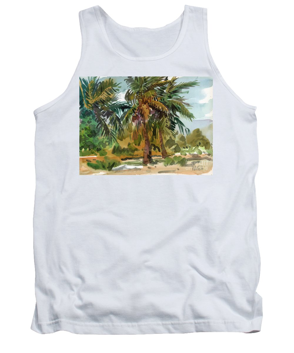 Palm Tree Tank Top featuring the painting Palms In Key West by Donald Maier