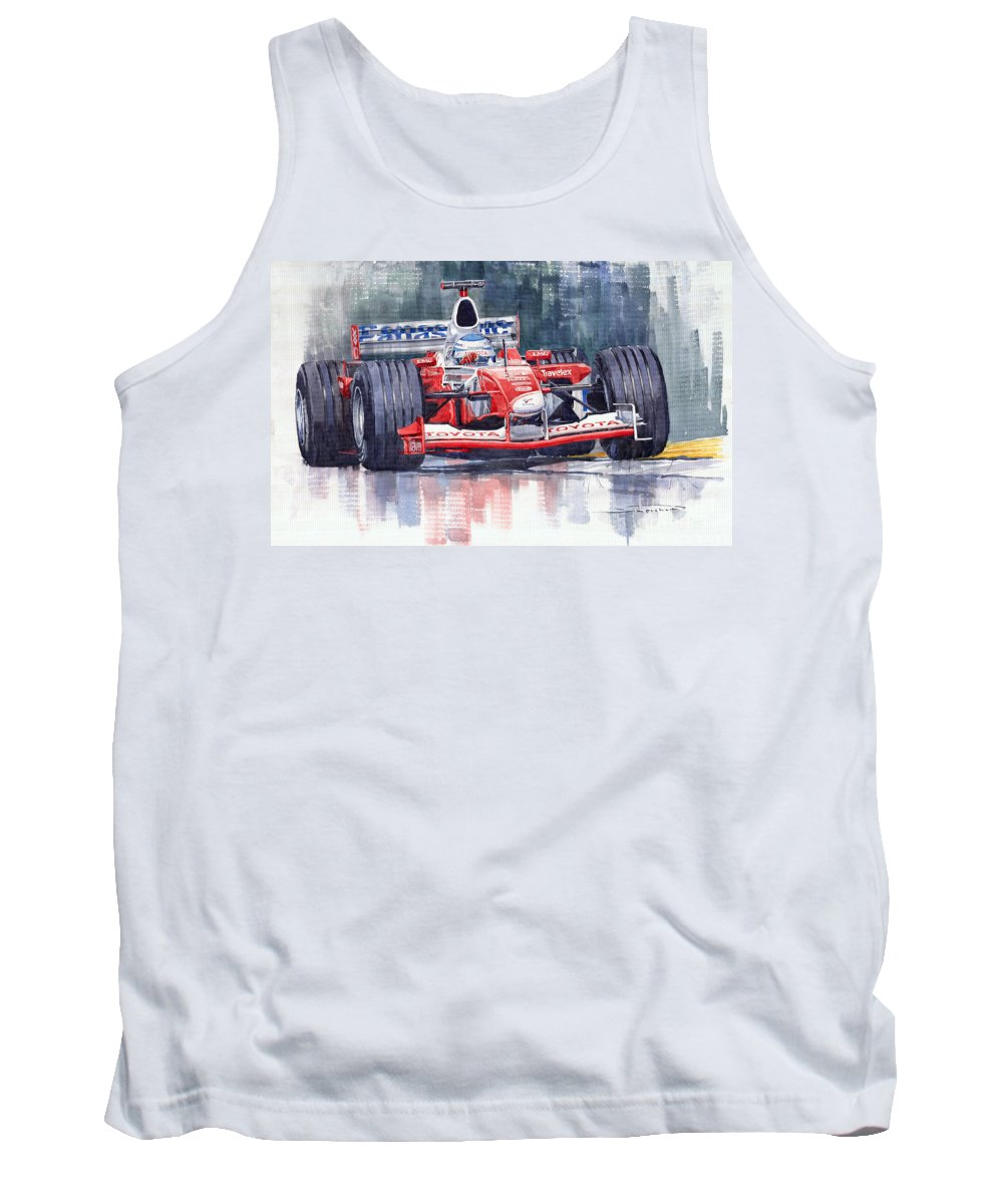 Watercolour Tank Top featuring the painting Panasonic Toyota Tf102 F1 2002 Mika Salo by Yuriy Shevchuk