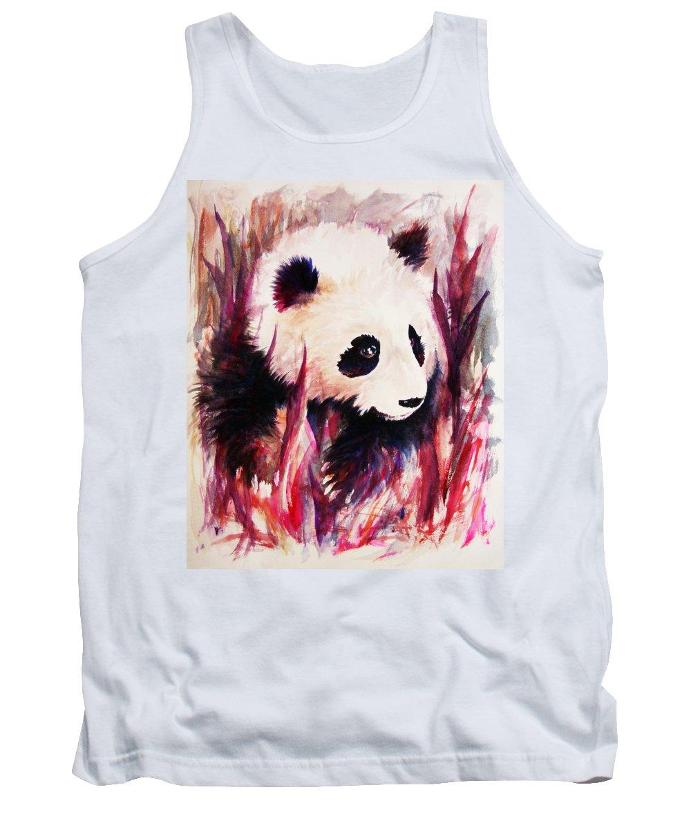Panda Tank Top featuring the painting Panda by Rachel Christine Nowicki