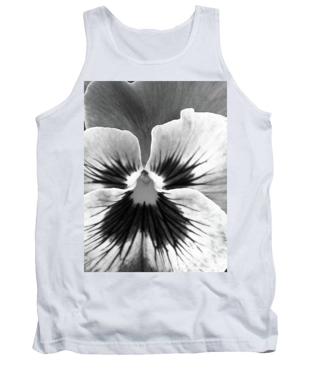 Pansy Tank Top featuring the photograph Pansy 06 Bw - Thoughts Of You by Pamela Critchlow