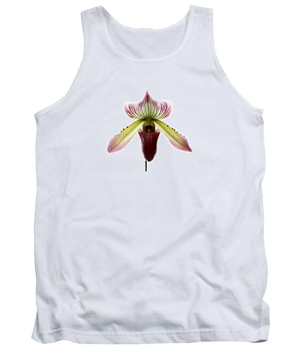 Orchid Tank Top featuring the photograph Paphiopedilum Lawrenceanum by Marilyn Hunt