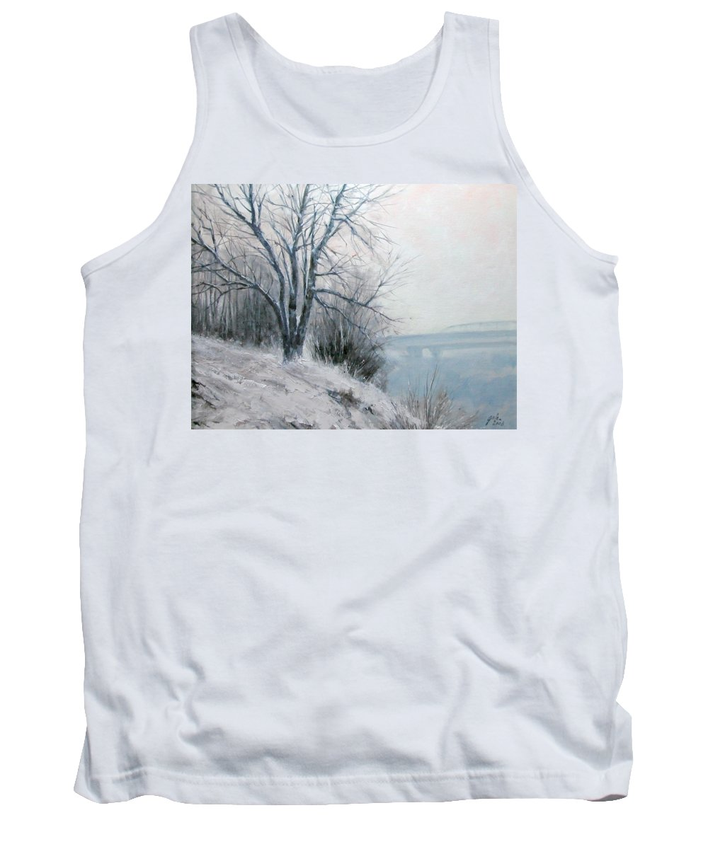 Art Tank Top featuring the painting Paradise Point Bridge Winter by Jim Gola