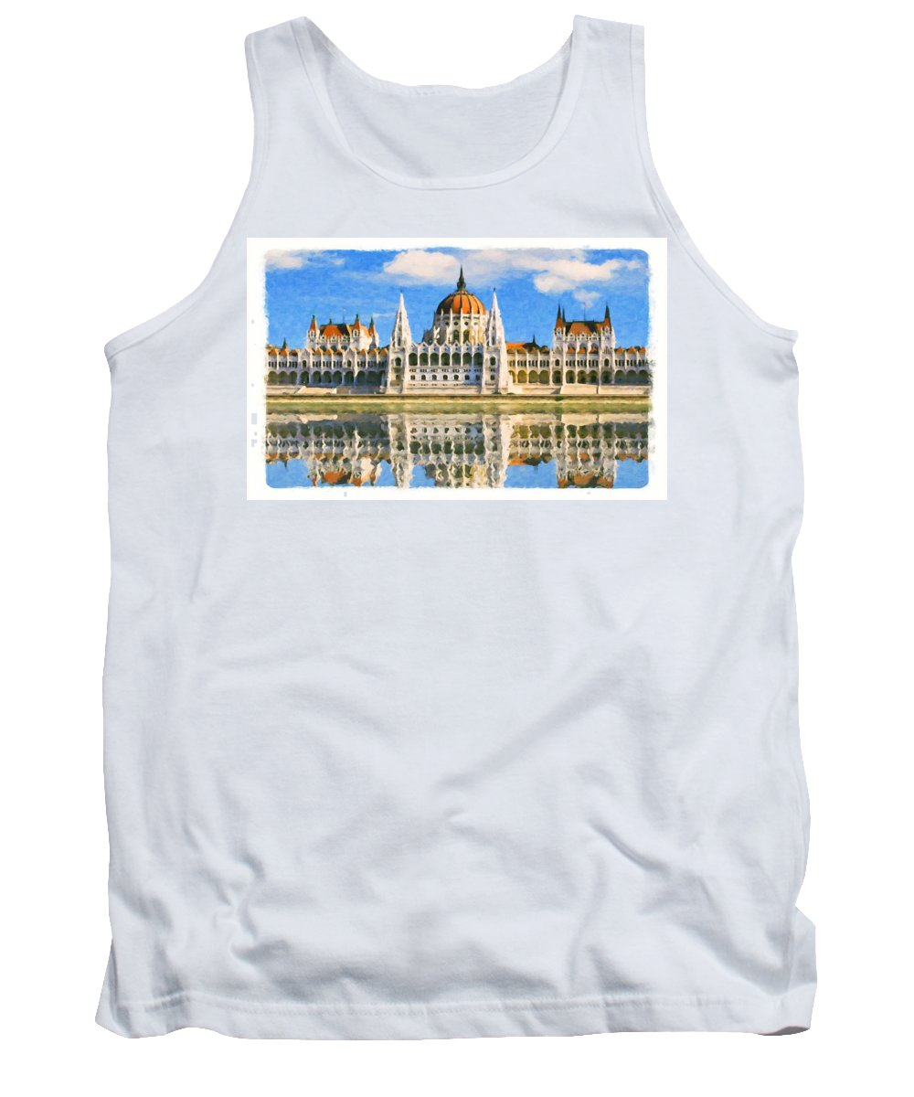 Budapest Tank Top featuring the painting Parliament Of Budapest by Jeelan Clark