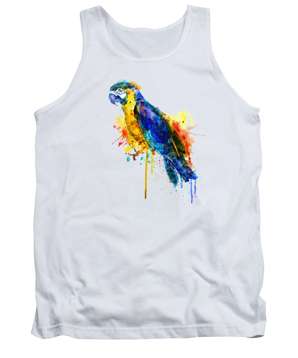 Parrot Tank Top featuring the painting Parrot Watercolor by Marian Voicu