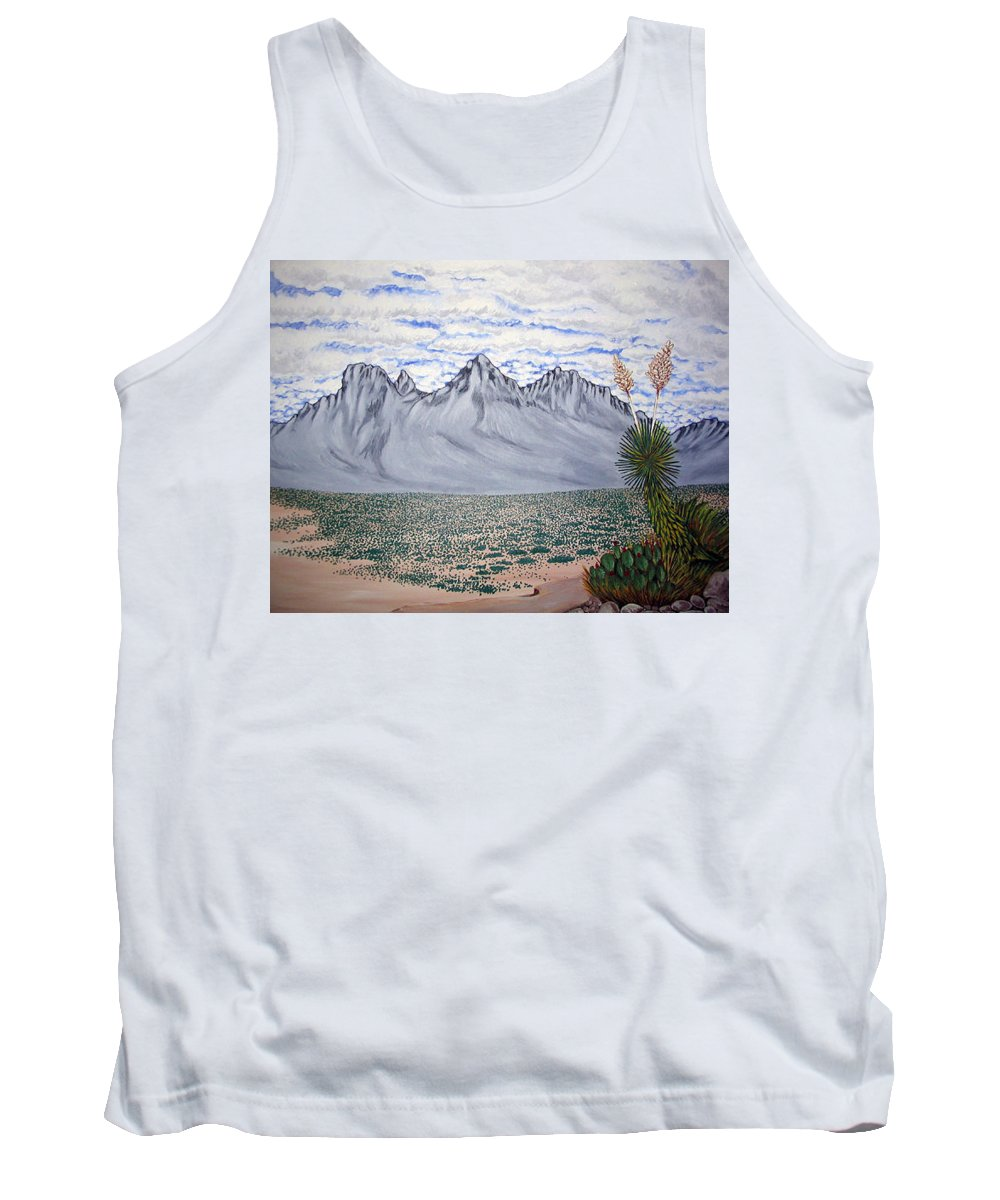 Desertscape Tank Top featuring the painting Pass Of The North by Marco Morales
