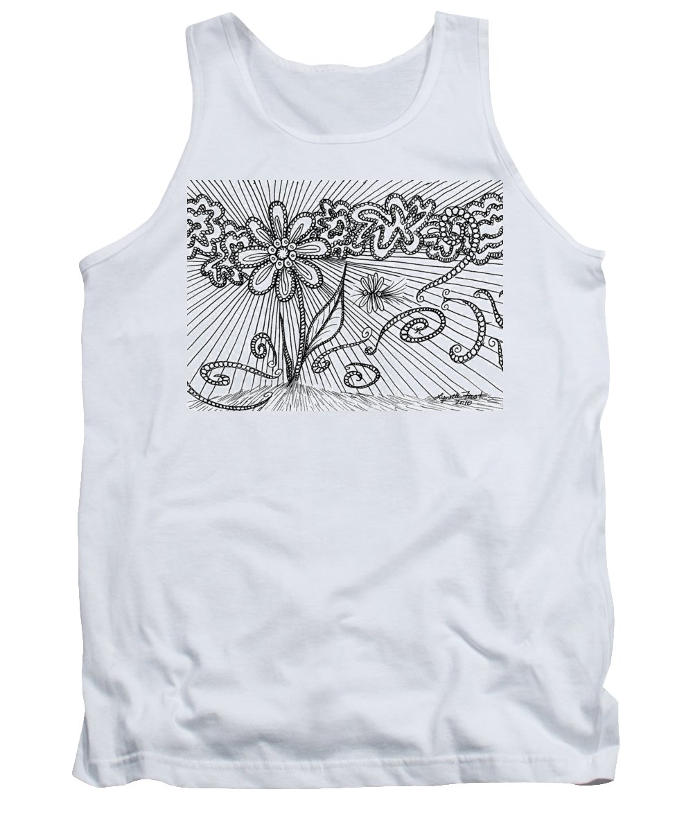 Flower Tank Top featuring the drawing Passing Time 47 by Lynette Fast