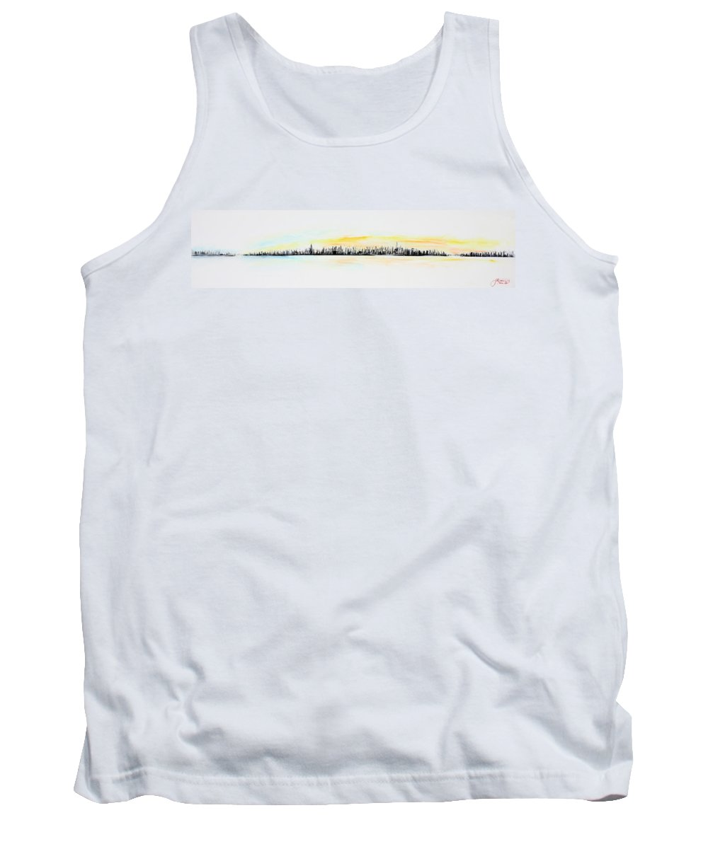 Gold Tank Top featuring the painting Pastel Smmer Sky by Jack Diamond